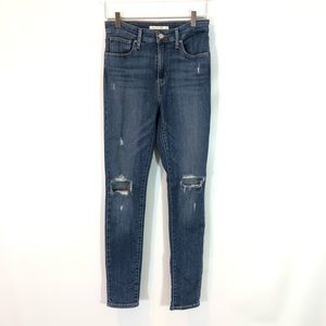 LEVIS 721 HIGH RISE SKINNY DISTRESSED JEAN SIZE 28